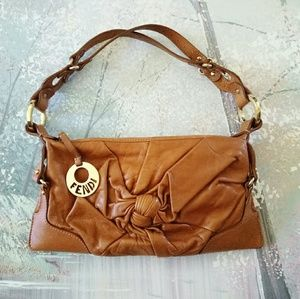 Gorgeous Auth FENDI leather mini bag camel brown